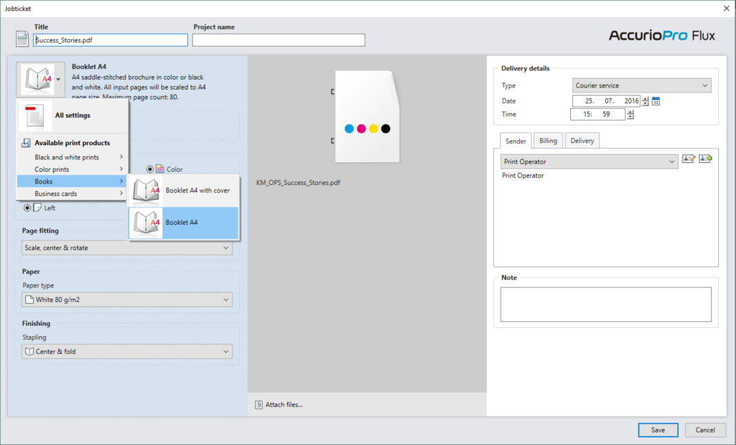 Flux Essential: Select product when importing print jobs