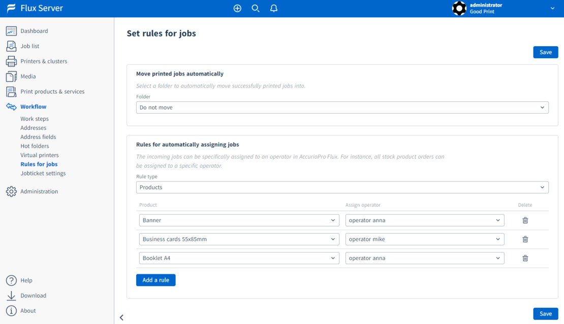 Flux Premium: Define rules for jobs